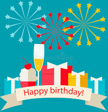 happy birthday card with gifts chagne stock vector image