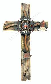 Firefighter Home Decorations Fireman Decorative Wall Cross Axe Fire Department Emblem