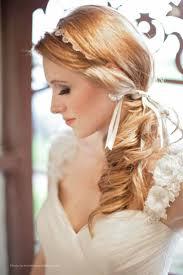 side ponytail wedding hairstyle with flowered headband 04 latest