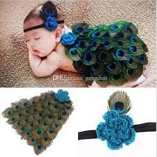 turkey feather headband 2018 sets hot sell newborn baby boys peacock feather