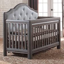 Convertible Cribs Pali Cristallo Convertible Crib In Granite With Grey Leather Panel