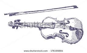 violin sketch drawing isolated on white stock vector 176199884