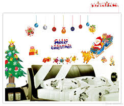 merry christmas santa clause xmas tree wall art decal sticker for