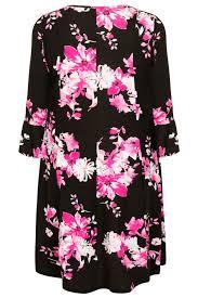 black u0026 pink floral print fit u0026 flare jersey dress with flute