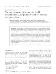 nursing handover within mental health rehabilitation an