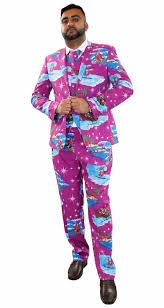 christmas suit new mens christmas fancy dress novelty print deluxe festive
