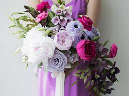 paper flower bouquet purple and pink crepe paper bouquet crafted to bloom