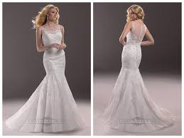 fit and flare illusion bateau neckline lace wedding dresses with