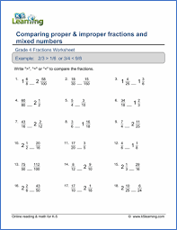 comparing and ordering fractions and mixed numbers worksheet grade 4 fractions worksheets free printable k5 learning