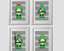 tmnt wall art etsy