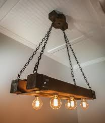 Wood Beam Light Fixture Rustic Wood Beam Chandelier With Edison Bulbs Forged Iron