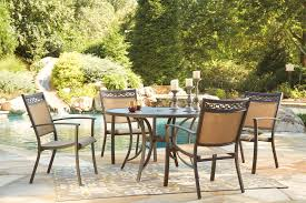 carmadelia tan brown 5 piece outdoor round dining set for 629 00
