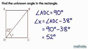 finding unknown angles in a rectangle youtube