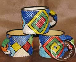 african handmade beaded zulu coffee mug