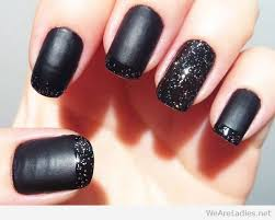 black matte nail polish and silver glitter gloss french tips