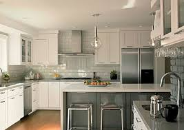kitchen backsplash ideas with cabinets brown brick tile backsplash u shaped kitchen kitchen backsplash