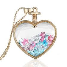 crystals fashion necklace images Heart flower specimens pendant necklace alloy transparent glass jpg