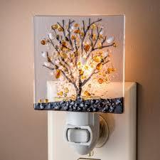 fused glass decorative night lights autumn tree