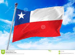 Chile Santiago Flag Flagge Von Chile Sich Entwickelnd Gegen Einen Klaren Blauen Himmel