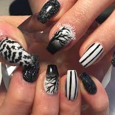 black and white halloween nails coffin nails nails pinterest