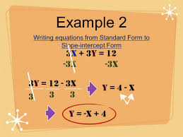 use the information provided to write standard form equation find the slope of line that p