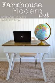 diy farmhouse modern desk with open front storage cubby make