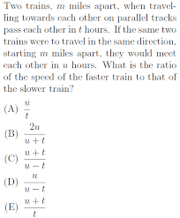 travel math images Tough distance rate time problem gre math practice question 55 png