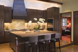 dark brown wood color and long designs ideas pics of kitchen