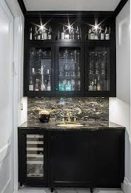 Built In Bar Cabinets Ebony Oak Wet Bar Cabinets With Black Marble Contemporary