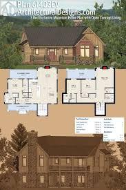 mountain house plans rear view home design rocky lodge plan