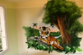 décoration chambre bébé jungle fresque bébé tigre baby room bébé tigre fresque et mur