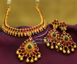 red gold jewelry necklace images Nl1916 gold plated leaf design red green color stones traditional JPG
