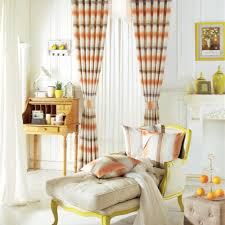 Orange And Beige Curtains Sweety Horizontal Striped Curtains With Linen Material And