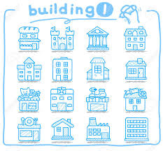 hand drawn european houses buildings store travel icons royalty