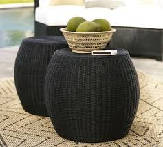 Wicker Accent Table Palmetto All Weather Wicker Accent Table Black Pottery Barn