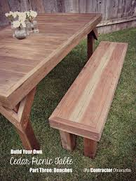 build your own cedar picnic table part three benches the