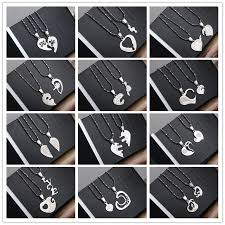 couples puzzle heart necklace images 1 pair best friends love couple puzzle stainless steel necklace jpg