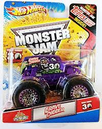 wheels monster jam grave digger truck amazon com wheels monster jam purple spectraflames 30th