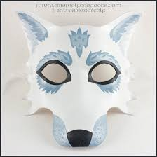 winter white wolf handmade leather masquerade mask for halloween