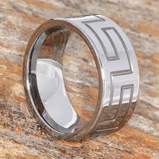Mens Wedding Ring Metals by The Glacier Continuous Greek Key Tungsten Band Is A Low Priced Ring