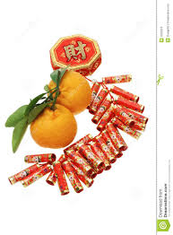 new year ornament and mandarin oranges stock images