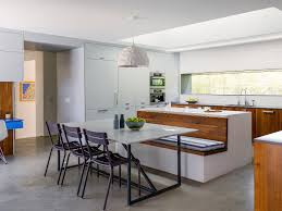 contemporary kitchen design with integrated banquette seating