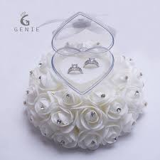 wedding pillow rings genie cake shape flowers ring box wedding jewelry