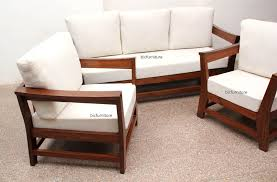 Comfortable Sofa Set In Teakwood With Lose Cushions - Teak wood sofa sets