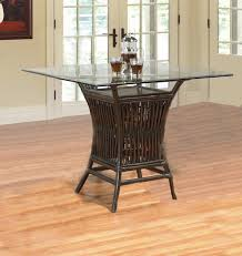 square rattan wicker dining table with glass top