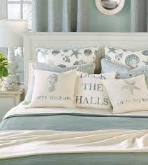 light blue and white beach bedroom bedding set with seashell