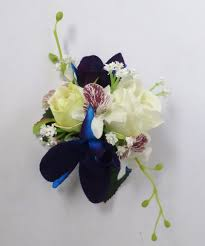 blue orchid corsage blue orchid white silk corsage silk boutonniere silk