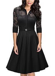 missmay women u0027s vintage 1950s style 3 4 sleeve black lace flare a