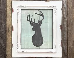 Wilderness Home Decor Deer Head Antler In Buffalo Plaid Woodland Buck Wall Art