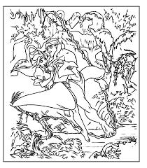 tarzan jane jungle coloring free printable